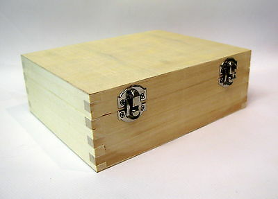 """PLAIN WOOD WOODEN  BOX FOR DECORATING DECOUPAGE CRAFT 7.5"""" x 6"""" x 2.7"""" HINGED"""