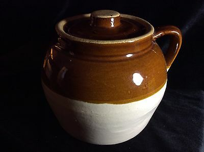 Vintage Primitive Pottery Crock Stoneware Jug Bean Pot Blue Crown #2 USA