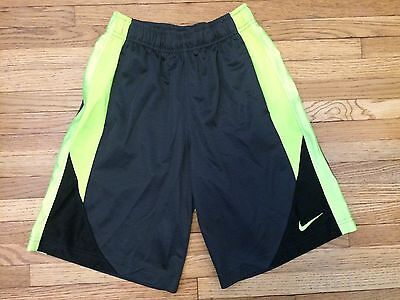 EUC Boys Nike Basketball Shorts Size Small Black Grey Neon Yellow