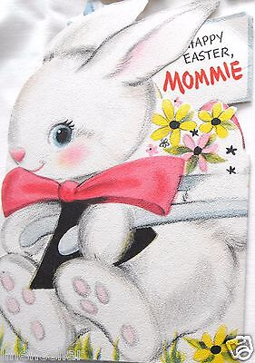 Easter Bunny Rabbit Greeting Card Vintage Mommie Used Fold out