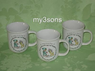 Precious Moments ~ Happy Holly Days ~ set of 3 cups/mugs ~ unused ~ 1994