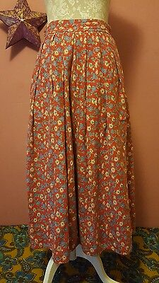 Vintage womens 70s red floral lined swishy skirt