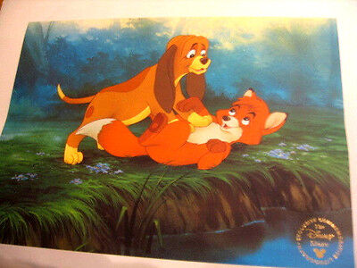 Walt Disney Lithograph Print Fox & Hound Commemorative Wall Hanging Picture