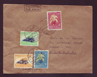 """Indonesia 1963 """"freedom From Hunger"""" Set On Mailed Cover To Greece (#14)"""