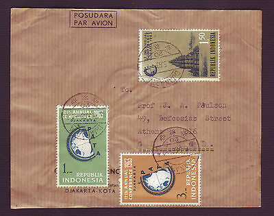 """Indonesia 1963 """"pacific Area Travel Assoc"""" Set On Mailed Cover To Greece ( (#12)"""