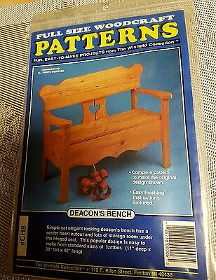 The Winfield Collection Deacon's Bench Storage Full Size wood craft pattern