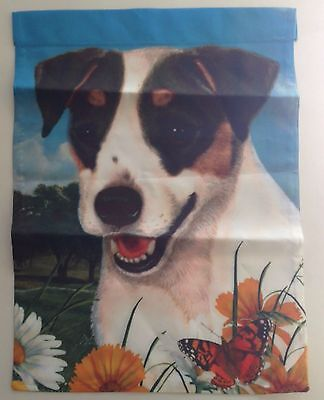 """Fox Terrier Garden Flag USA Made Double Sided 11"""" x 15"""" Masked Eyes Dog"""
