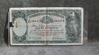 1942 Australia 1 Pound Note George VI VF w Faults C2