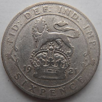 1921 Silver Sixpence