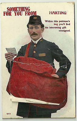 Novelty Pullout postcard postman & sack  something for you from Harting Sussex