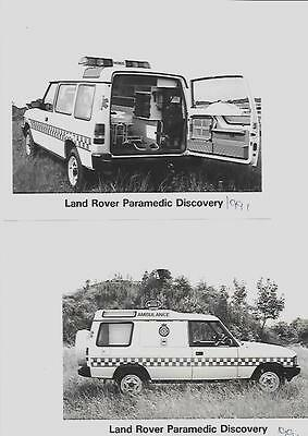 Two  Land Rover Paramedic Discovery Original Press Photos 'brochure'connected'
