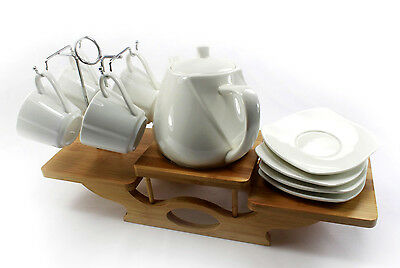 Vintage Modern 4Cups CHINA TEA COFFEE POT Set With Bamboo Base Plate Teabag Gift