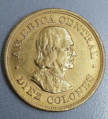 Costa Rica 10 Colones 1900, Gold Coin Nice Condition