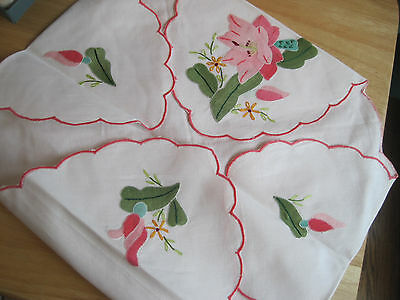 NEW Linen bread/roll basket cover Applique Embroidery Floral Exquisite Gift