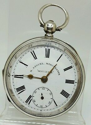 Antique solid silver gents chunky H.Samuel Manchester pocket watch 1905