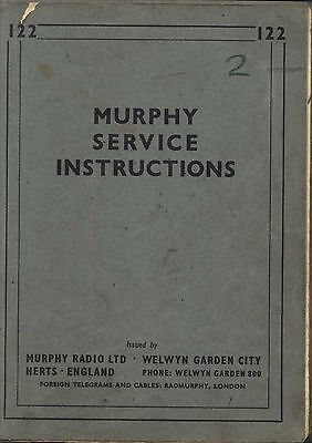 MURPHY VINTAGE RADIO SERVICE INSTRUCTIONS VALVES TECHNICAL NOTES 1930s 1940s