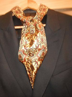 (b/b1) Vintage Cravat Gold/Red Paisley Pattern Silky fabric - Mod, Scooter Etc