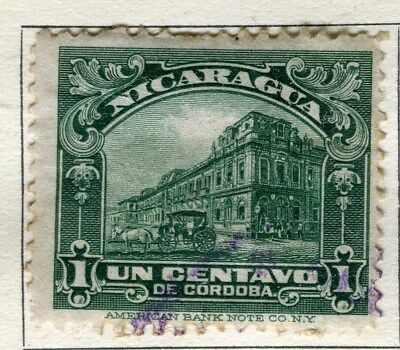 NICARAGUA;  1928 early pictorial issue fine used 1c. value