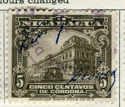 NICARAGUA;  1928 early pictorial issue fine used 5c. value