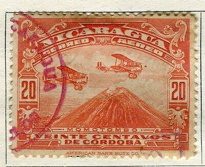NICARAGUA;  1928 early pictorial AIR issue fine used 20c. value