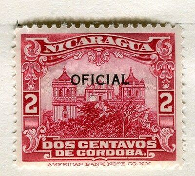 NICARAGUA;  1926 early OFFICIAL Optd. issue fine Mint hinged 2c. value