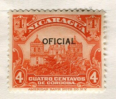 NICARAGUA;  1926 early OFFICIAL Optd. issue fine Mint hinged 4c. value