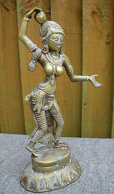 """Old Heavy Brass Indian Nepalese Dancing Girl 12"""" Statue"""