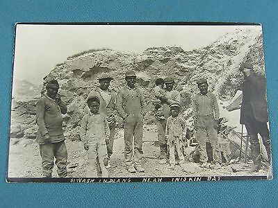 Authentic Early RPPC Siwash Indians Near Iniskin Bay Alaska~Great Condition!!