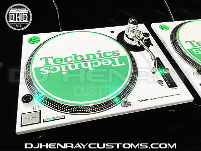 2 custom white powder coated Technics SL1200 m3d's with green leds dj turntables