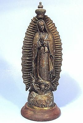 """Our Lady Of Guadalupe Antique 10.5"""" Brass Metal Virgin Mary Statue Mexico Icon"""