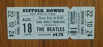 The Beatles Full Ticket Suffolk Downs Aug.18,1966 Last Tour