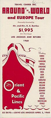 1960 Orient & Pacific Lines Travel Brochure Around the World Cruise Ship Tour