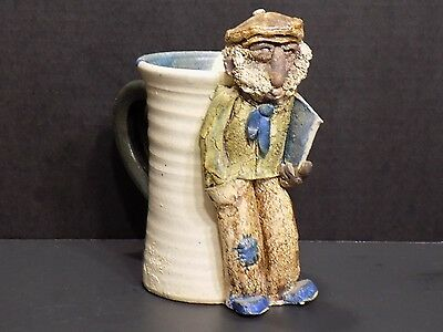 Very Unique Hand Made Clay Ceramic Old Man Pottery Mug Marked The Whites
