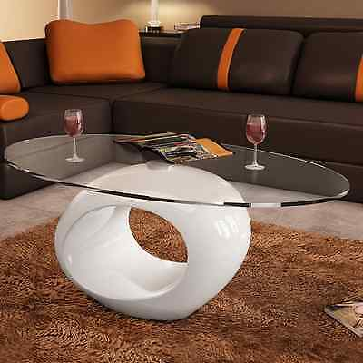 High Gloss Coffee Table White Round Glass Modern Design Living Room Furniture