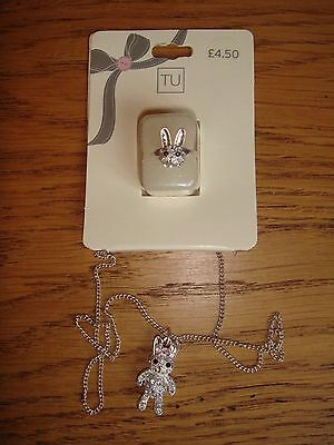 BNWT Sparkly Bunny Necklace and Ring Set