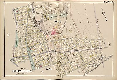 1906 Essex County New Jersey Bloomfield High School Oakes Pond Atlas Map