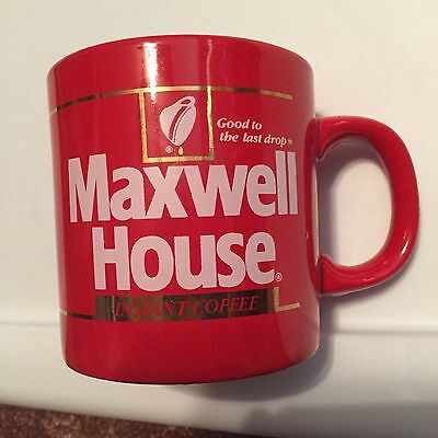 Vintage Red Ceramic Maxwell House Instant Coffee mug cup, FREE SHIPPING!!!