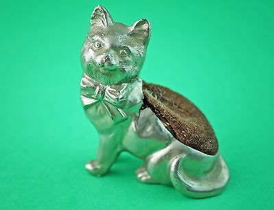 Early White Metal Cat Pin Cushion