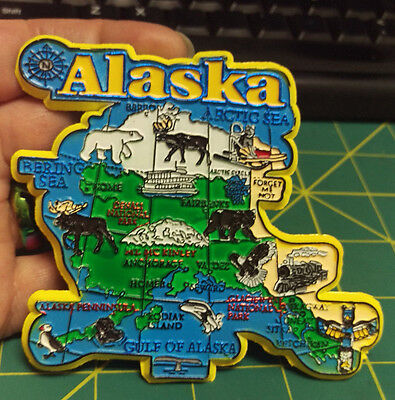 New Alaska Magnet with map of Alaska with animals, sea,  town names & more