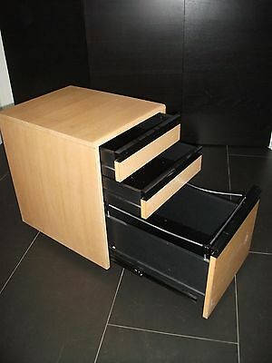 Smart Wooden Office Cupboard with 3 drawers including hanging file drawer.