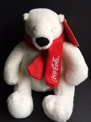 Coca Cola by Dan Dee Collectible Plush White Polar Bear with Red Scarf NWT
