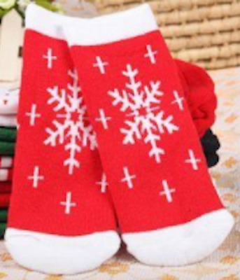 New WARM WINTER SOCKS Baby Infant Boy Girl 0-12 Months RED w. WHITE SNOWFLAKES