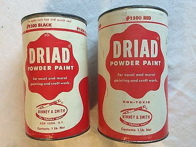 Vintage DRIAD Powder Paint - Two - Red and Black - Binney & Smith - Open