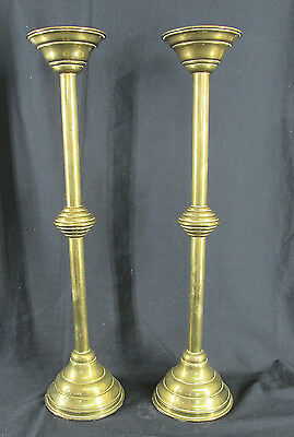 """Early Antique 19th c Pair 22"""" Tall Brass Beehive Candlesticks Candle Holders yqz"""