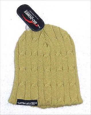 System Of A Down Patch Name Logo Green Ski Hat Beanie New