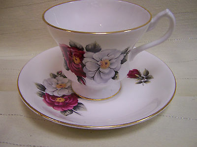 Royal Imperial Footed Teacup and Saucer Set ~Pink~ White RosesFinest Bone China