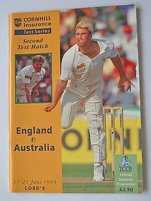 Official Programme England v Australia 2nd Test Match Lords 1993