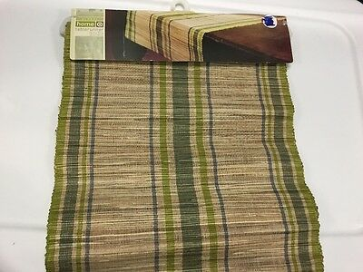 """Target Global Home Table Runner  Green and Brown 14""""x72"""" NWT"""