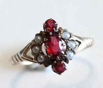 Victorian Garnet & Seed Pearl 10k Rose Gold Ring Size 6.25