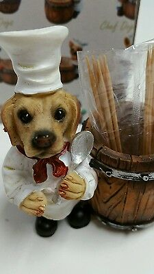 Yellow LAB  Chef Dog Toothpick / Ring Holder  statue